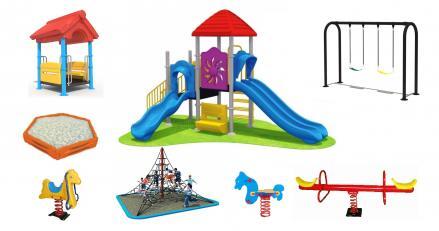 детски пързалки и люлки, съоръжения за детски площадки
