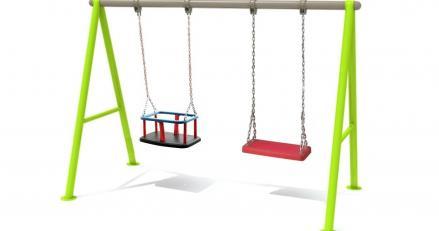люлка-махало с гумени седалки за външни детски площадки