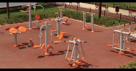 площадка с външни фитнес уреди