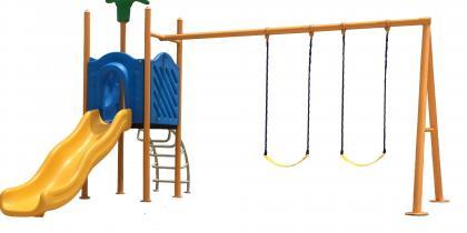 Детско съоръжение - пързалка с две люлки 170525Е